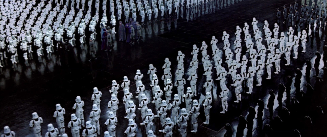 "Les ""storm troopers"" de l'Empire, dans Star Wars, Episode VI, Le Retour du Jedi (1983)."